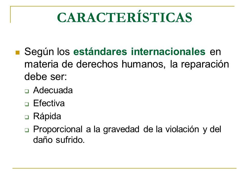 CARACTERÍSTICAS Según los estándares internacionales en materia de derechos humanos, la reparación debe ser: