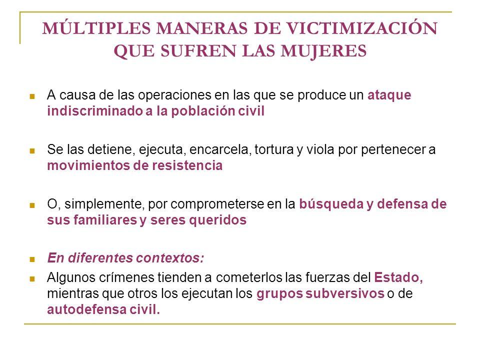 MÚLTIPLES MANERAS DE VICTIMIZACIÓN QUE SUFREN LAS MUJERES