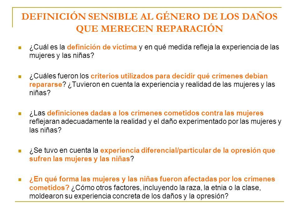 DEFINICIÓN SENSIBLE AL GÉNERO DE LOS DAÑOS QUE MERECEN REPARACIÓN