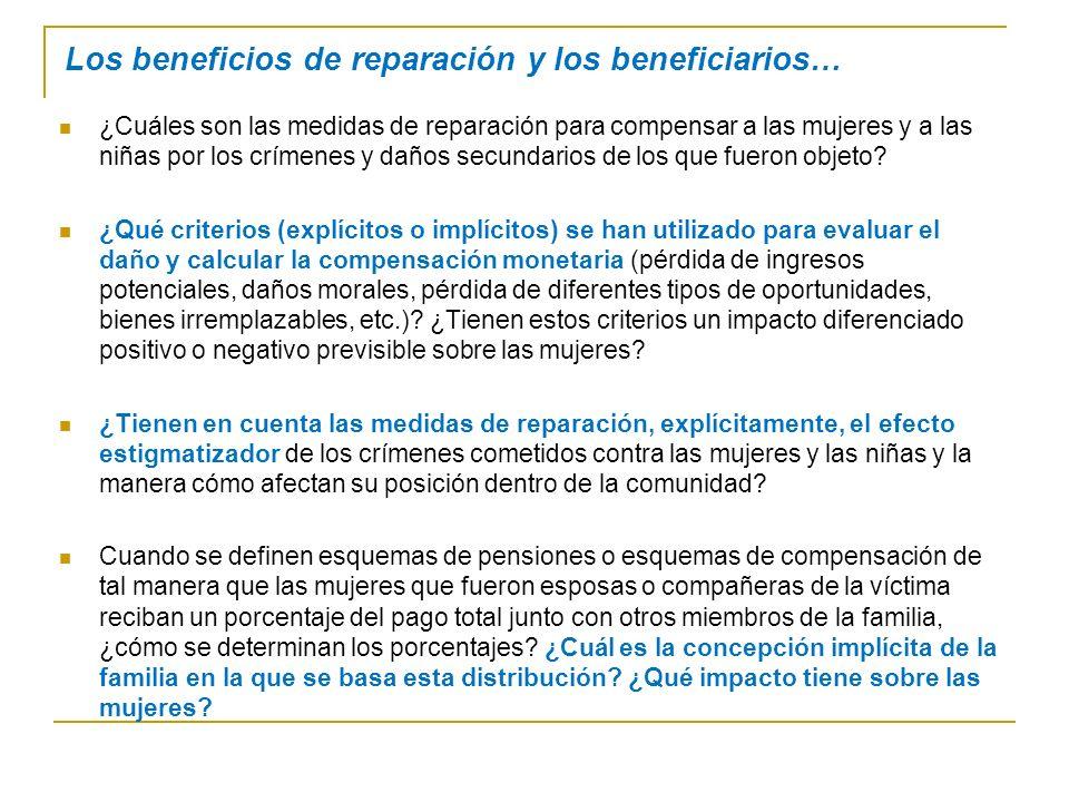 Los beneficios de reparación y los beneficiarios…