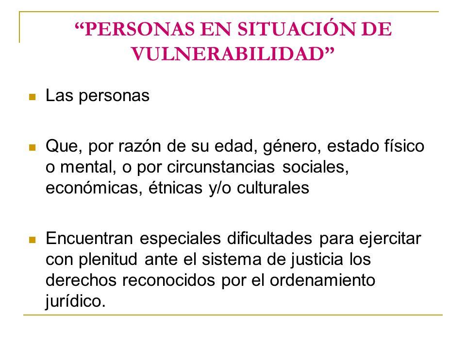 PERSONAS EN SITUACIÓN DE VULNERABILIDAD