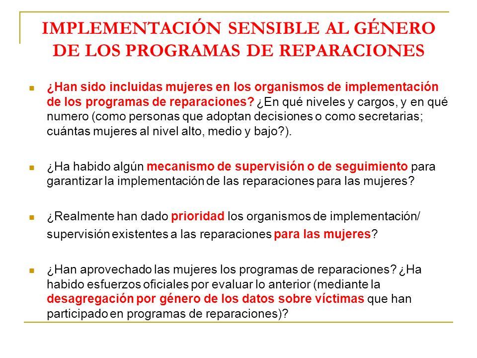 IMPLEMENTACIÓN SENSIBLE AL GÉNERO DE LOS PROGRAMAS DE REPARACIONES