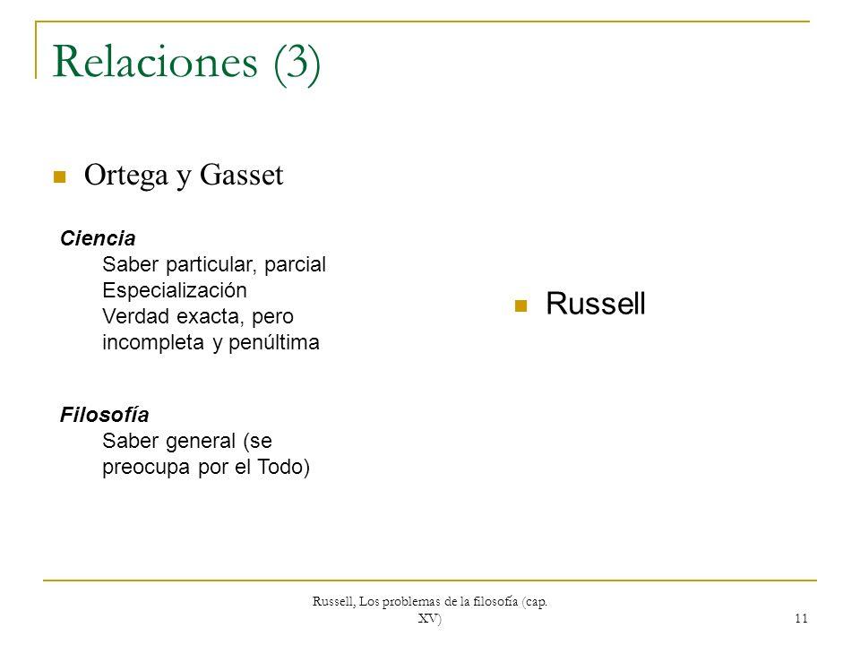 Russell, Los problemas de la filosofía (cap. XV)
