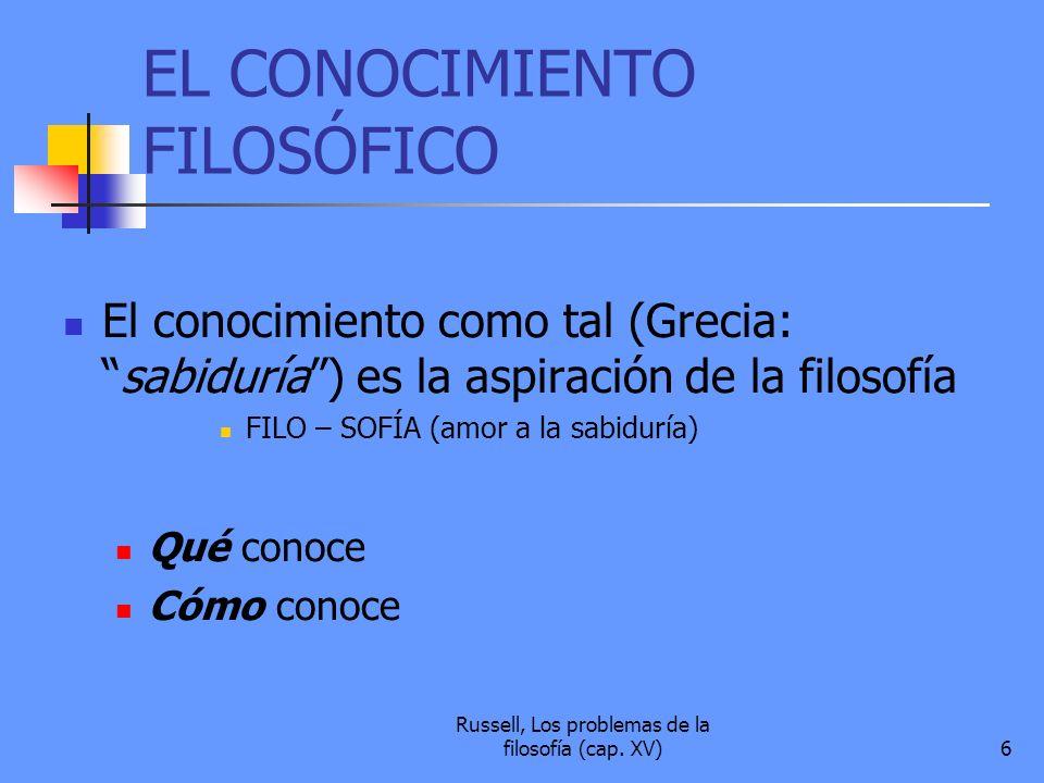 EL CONOCIMIENTO FILOSÓFICO