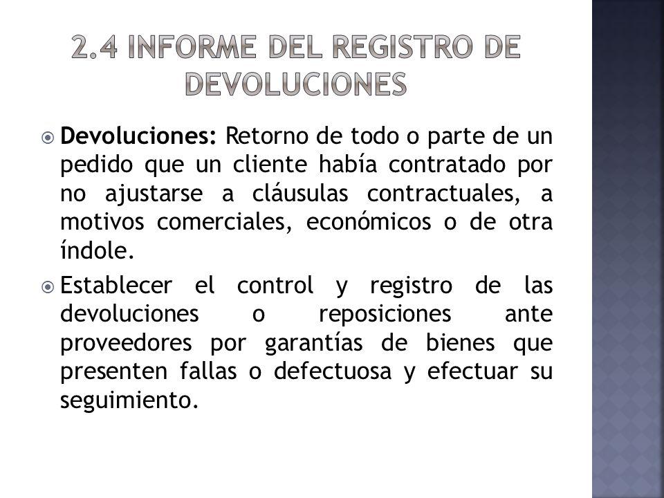 2.4 INFORME DEL REGISTRO DE DEVOLUCIONES