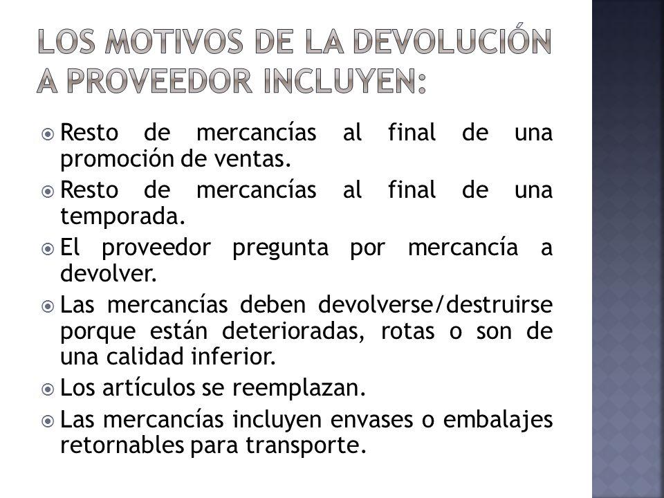 Los motivos de la devolución a proveedor incluyen: