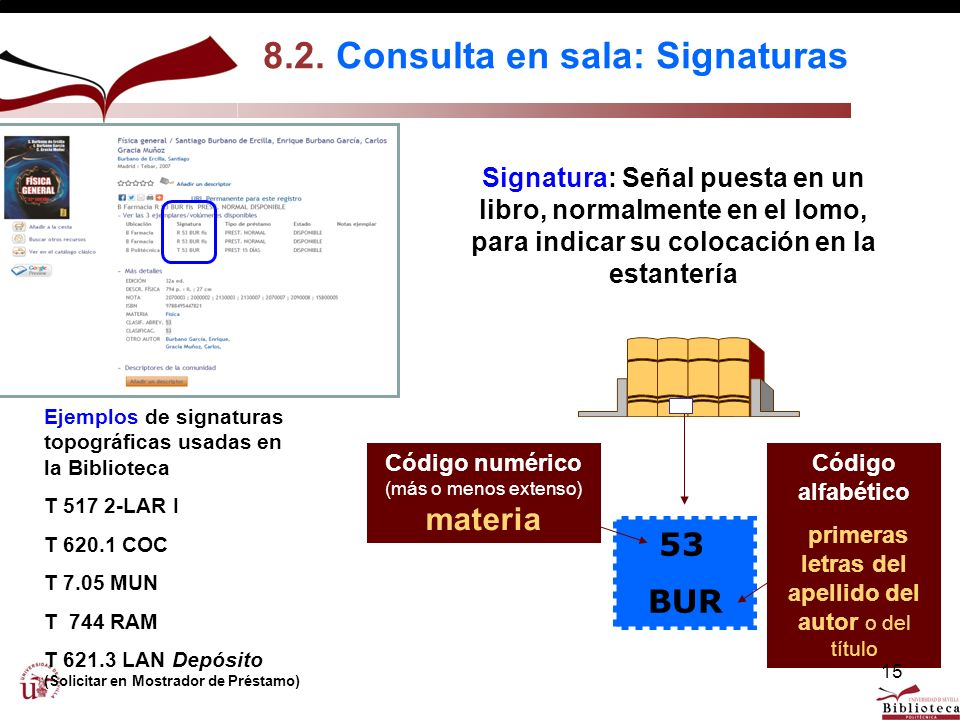 8.2. Consulta en sala: Signaturas