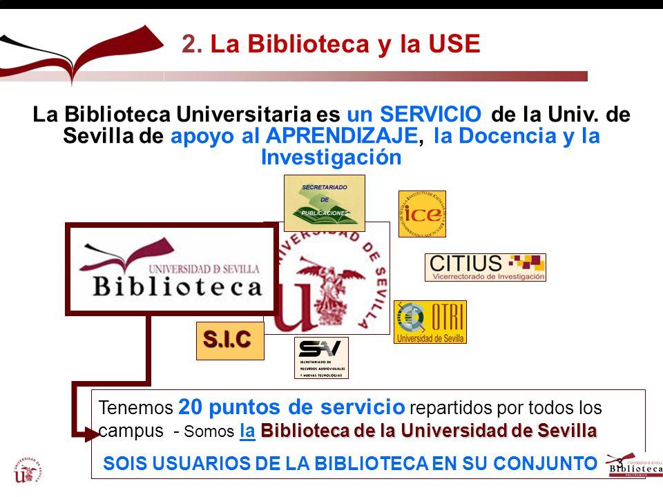 2. La Biblioteca y la USE La Biblioteca Universitaria es un SERVICIO de la Univ. de Sevilla de apoyo al APRENDIZAJE, la Docencia y la Investigación.