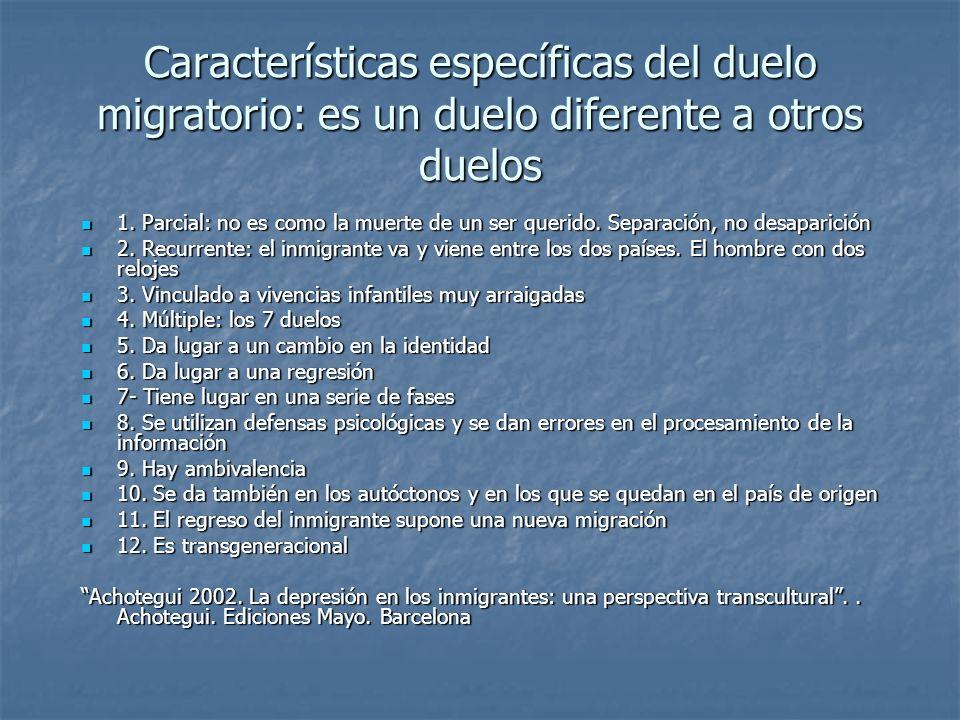 Características específicas del duelo migratorio: es un duelo diferente a otros duelos