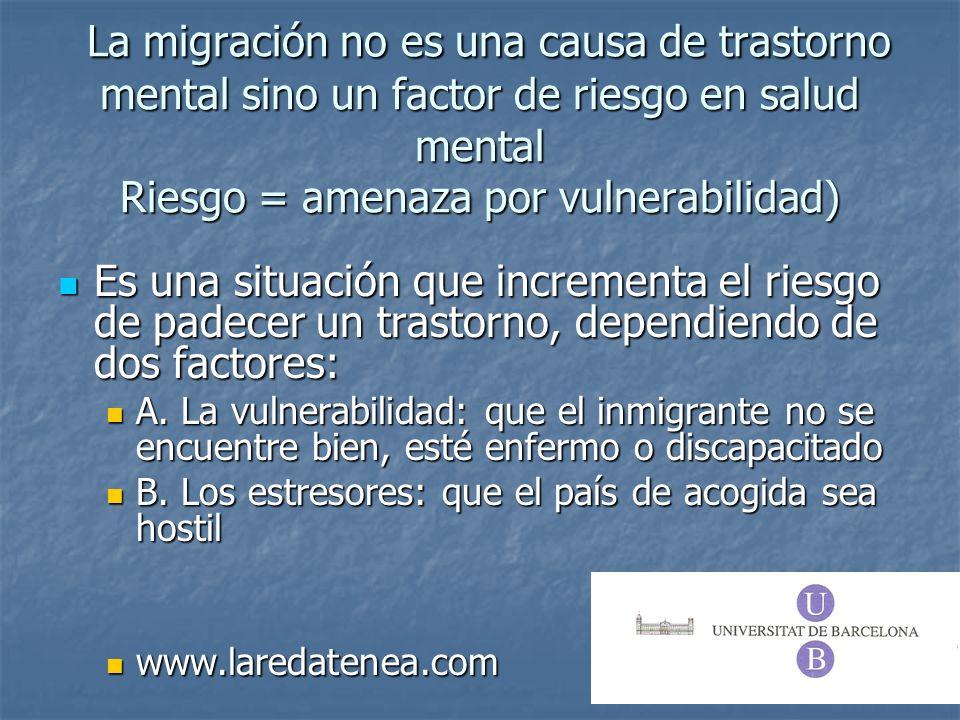 La migración no es una causa de trastorno mental sino un factor de riesgo en salud mental Riesgo = amenaza por vulnerabilidad)