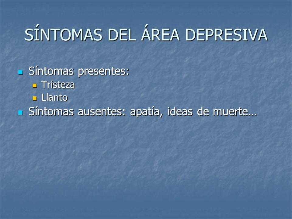 SÍNTOMAS DEL ÁREA DEPRESIVA