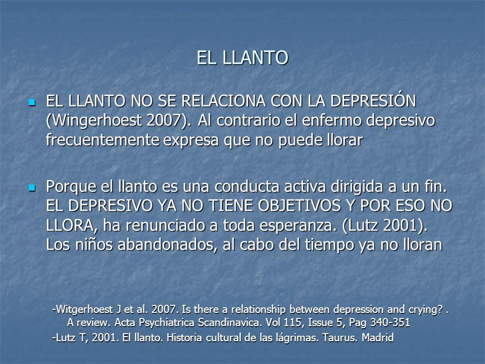 EL LLANTOEL LLANTO NO SE RELACIONA CON LA DEPRESIÓN (Wingerhoest 2007). Al contrario el enfermo depresivo frecuentemente expresa que no puede llorar.