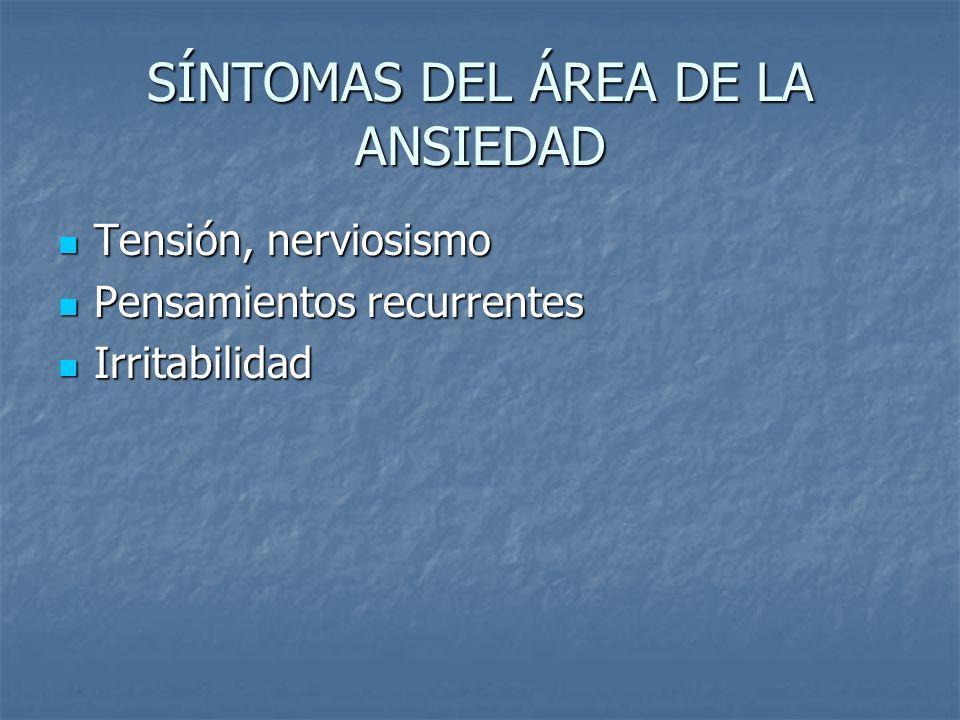SÍNTOMAS DEL ÁREA DE LA ANSIEDAD
