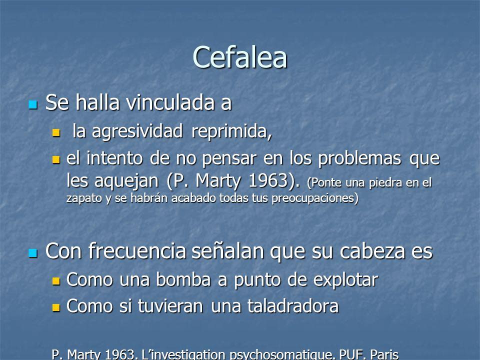 Cefalea Se halla vinculada a Con frecuencia señalan que su cabeza es