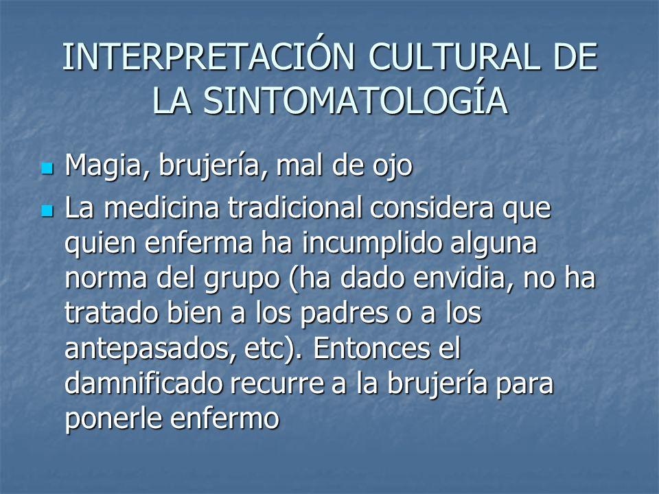 INTERPRETACIÓN CULTURAL DE LA SINTOMATOLOGÍA