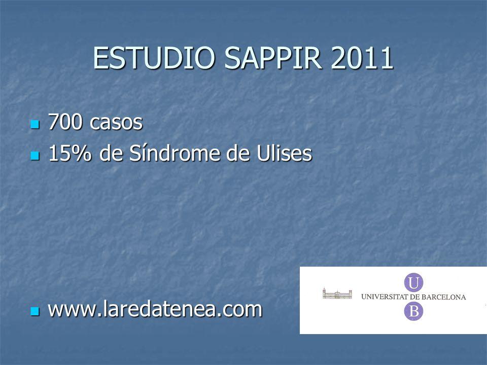 ESTUDIO SAPPIR 2011 700 casos 15% de Síndrome de Ulises