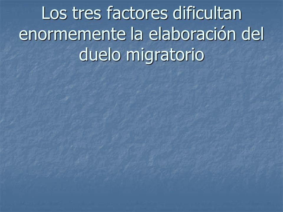 Los tres factores dificultan enormemente la elaboración del duelo migratorio