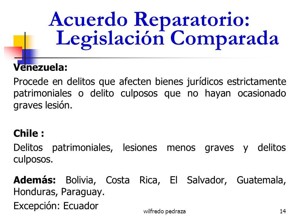 Acuerdo Reparatorio: Legislación Comparada