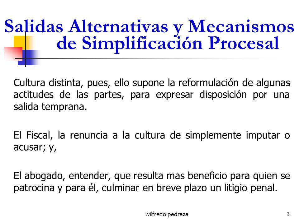 Salidas Alternativas y Mecanismos de Simplificación Procesal