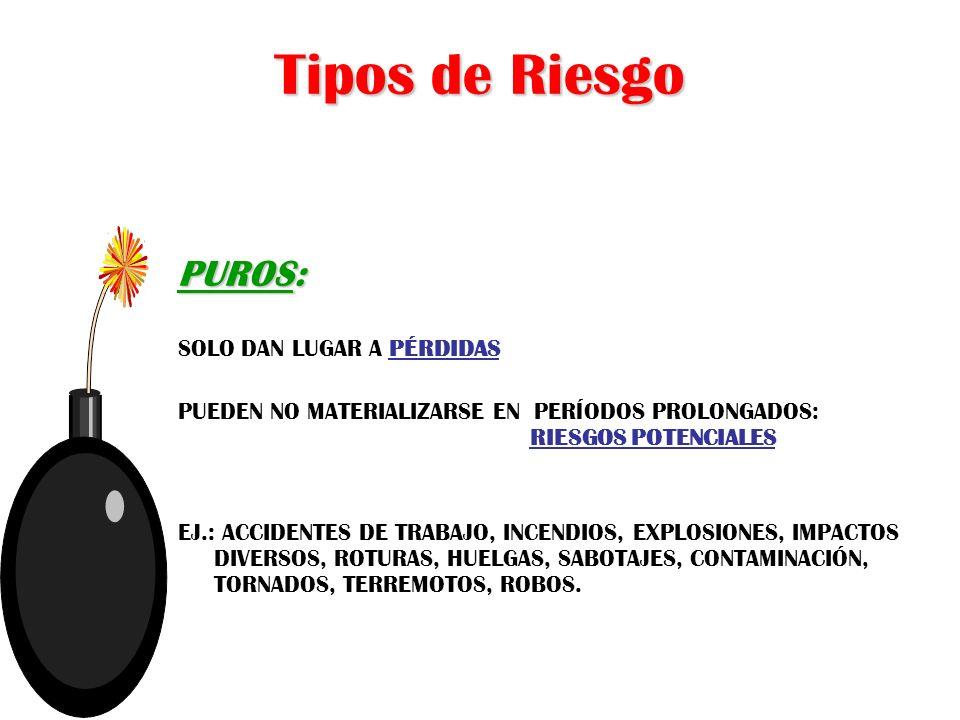 Tipos de Riesgo PUROS: SOLO DAN LUGAR A PÉRDIDAS