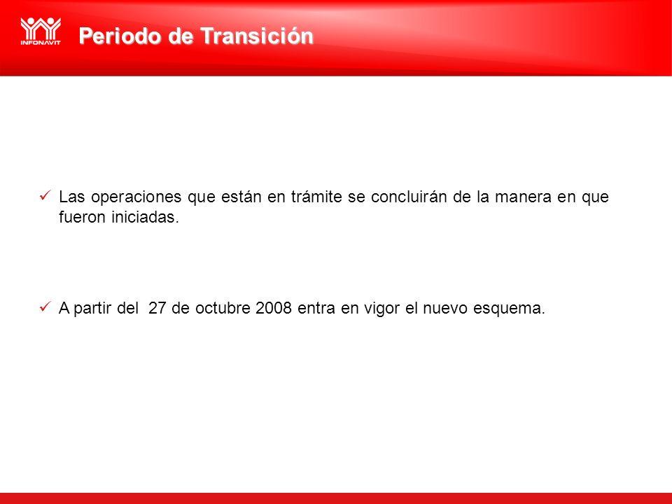 Periodo de Transición Las operaciones que están en trámite se concluirán de la manera en que fueron iniciadas.