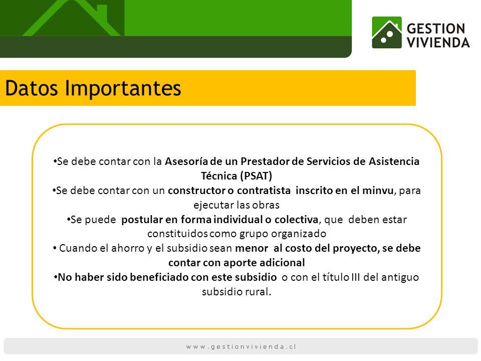Datos Importantes Se debe contar con la Asesoría de un Prestador de Servicios de Asistencia Técnica (PSAT)