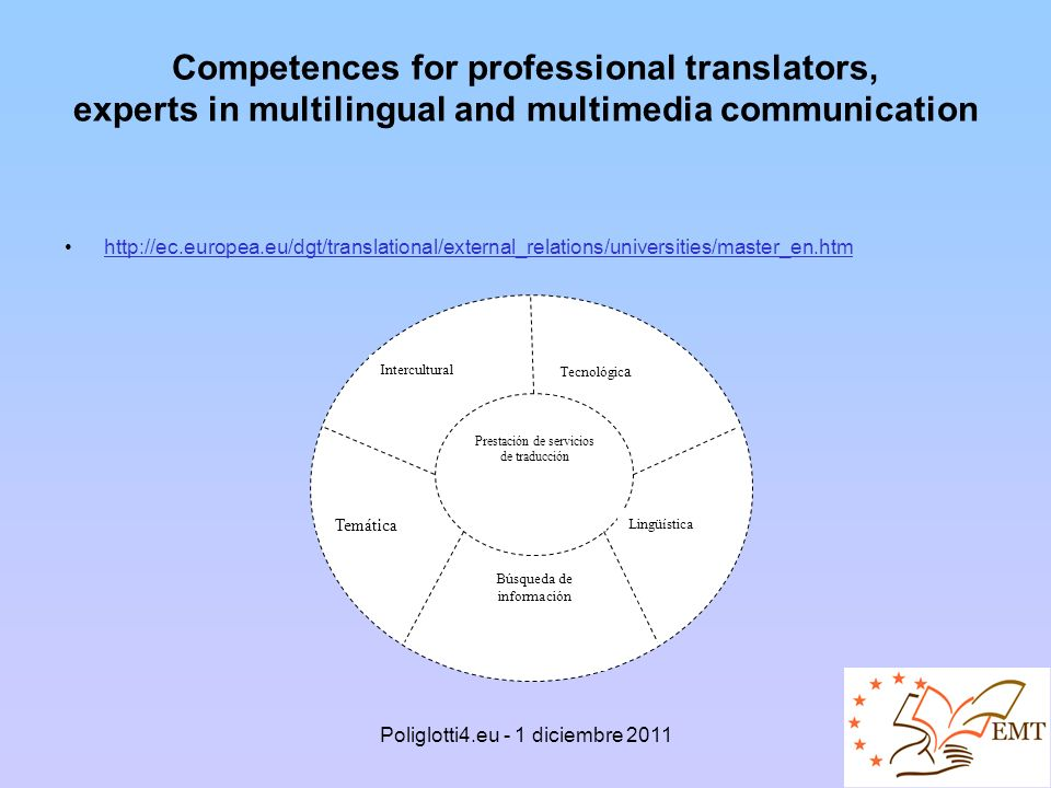 Competences for professional translators, experts in multilingual and multimedia communication