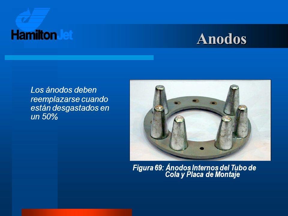 Anodos Los ánodos deben reemplazarse cuando están desgastados en un 50% Figura 69: Ánodos Internos del Tubo de Cola y Placa de Montaje.
