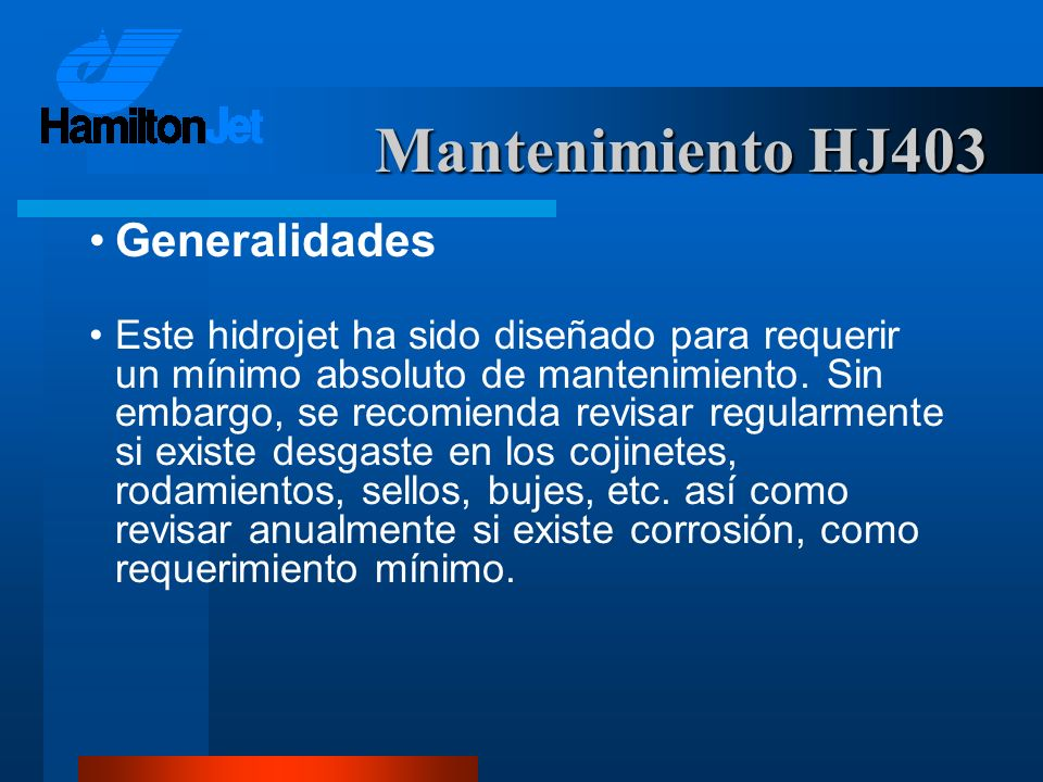Mantenimiento HJ403 Generalidades