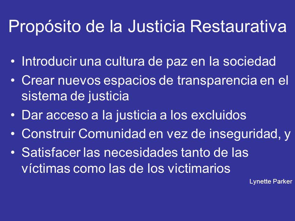 Propósito de la Justicia Restaurativa