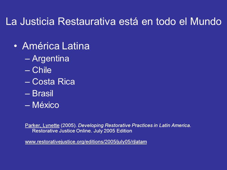 La Justicia Restaurativa está en todo el Mundo