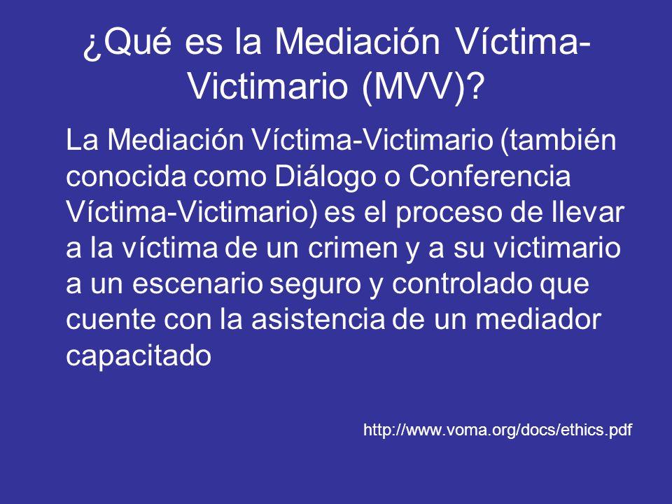 ¿Qué es la Mediación Víctima-Victimario (MVV)