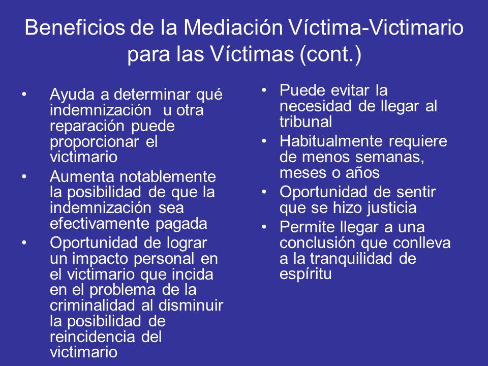 Beneficios de la Mediación Víctima-Victimario para las Víctimas (cont