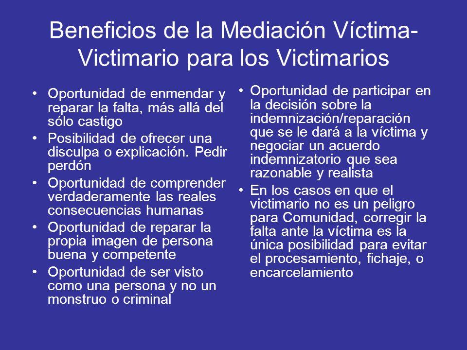 Beneficios de la Mediación Víctima-Victimario para los Victimarios