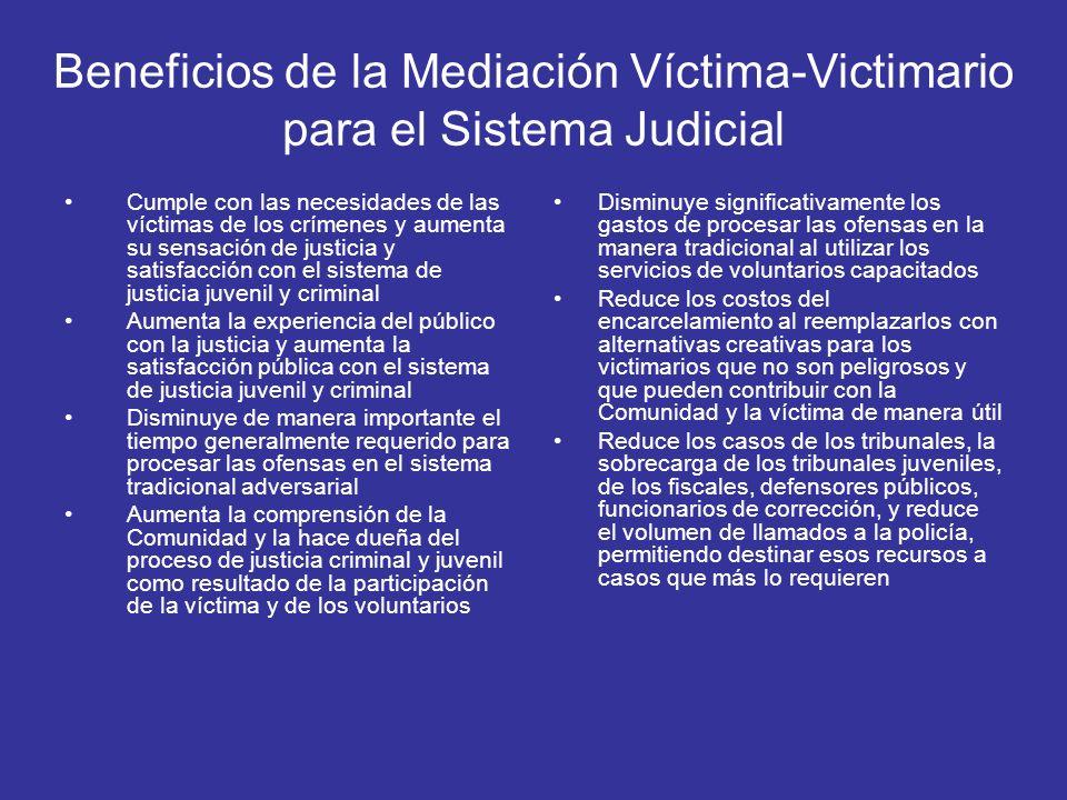 Beneficios de la Mediación Víctima-Victimario para el Sistema Judicial