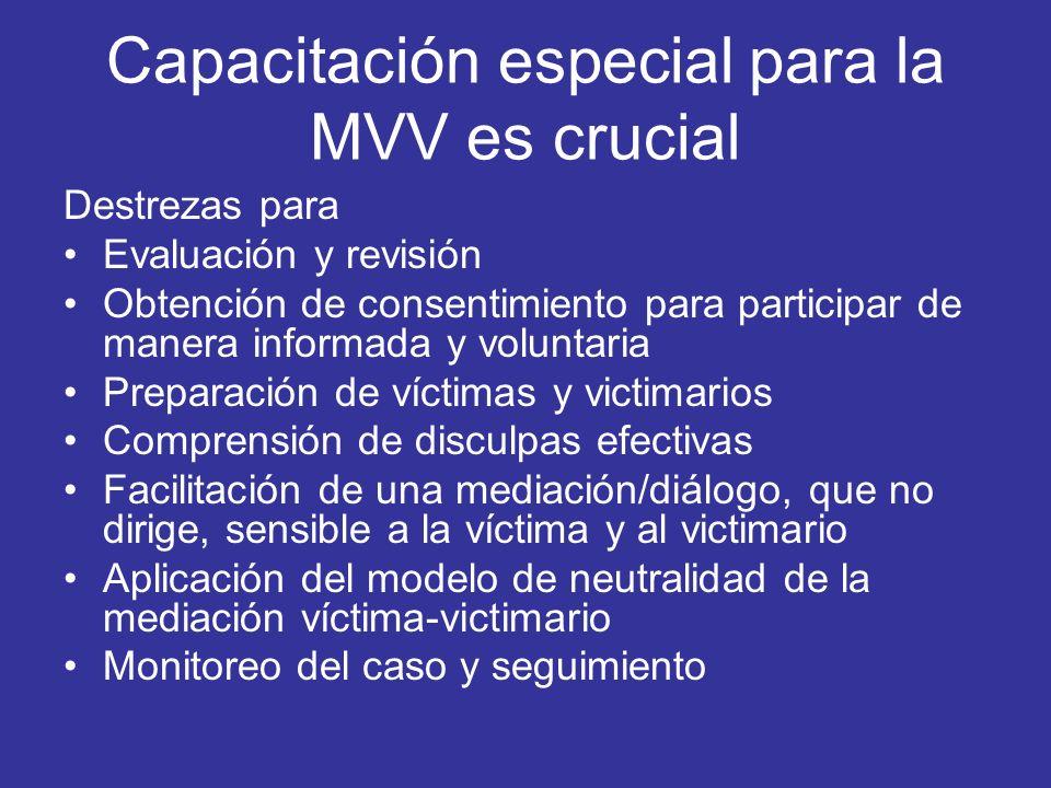 Capacitación especial para la MVV es crucial
