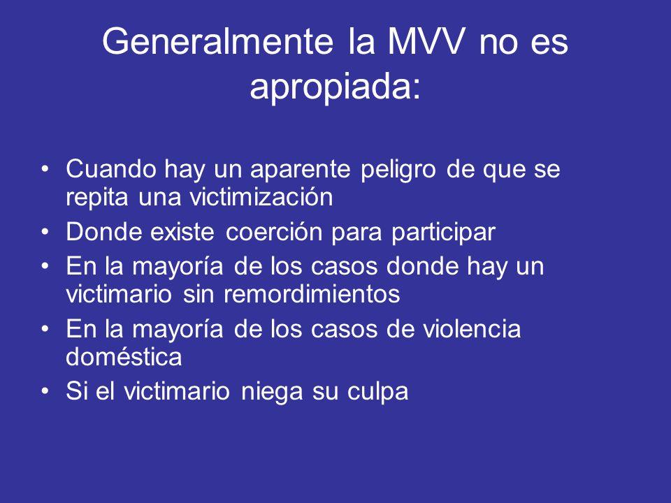 Generalmente la MVV no es apropiada:
