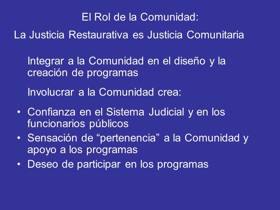 El Rol de la Comunidad: La Justicia Restaurativa es Justicia Comunitaria