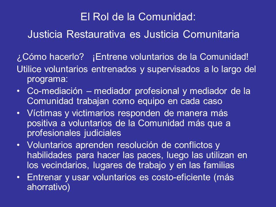 El Rol de la Comunidad: Justicia Restaurativa es Justicia Comunitaria
