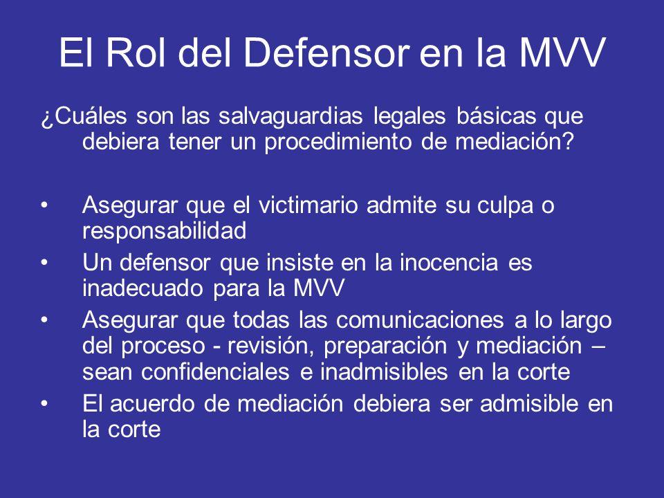 El Rol del Defensor en la MVV