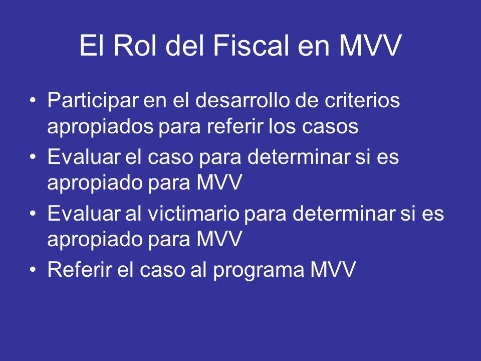El Rol del Fiscal en MVV Participar en el desarrollo de criterios apropiados para referir los casos.