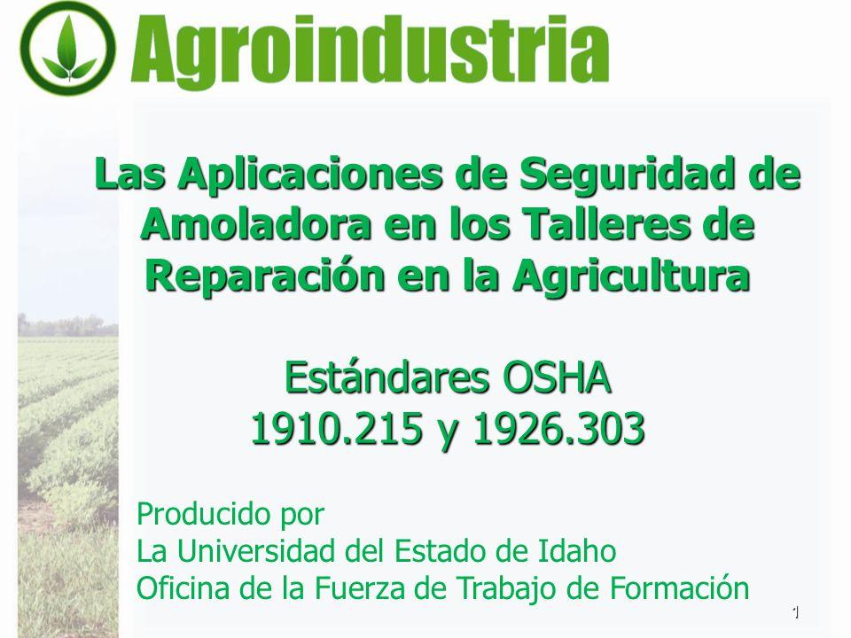 Las Aplicaciones de Seguridad de Amoladora en los Talleres de Reparación en la Agricultura Estándares OSHA 1910.215 y 1926.303