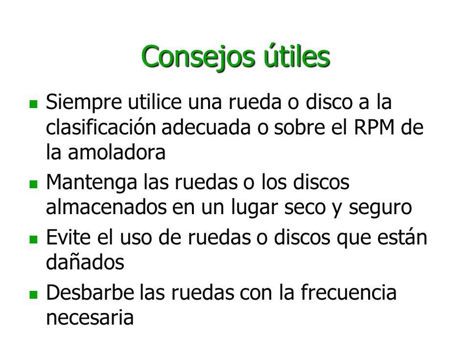 Consejos útiles Siempre utilice una rueda o disco a la clasificación adecuada o sobre el RPM de la amoladora.
