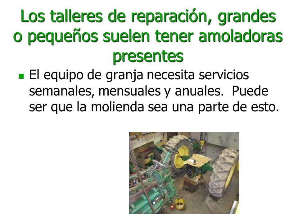 Los talleres de reparación, grandes o pequeños suelen tener amoladoras presentes