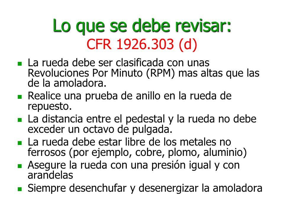 Lo que se debe revisar: CFR 1926.303 (d)