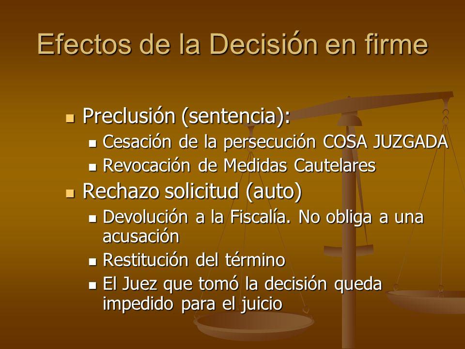 Efectos de la Decisión en firme