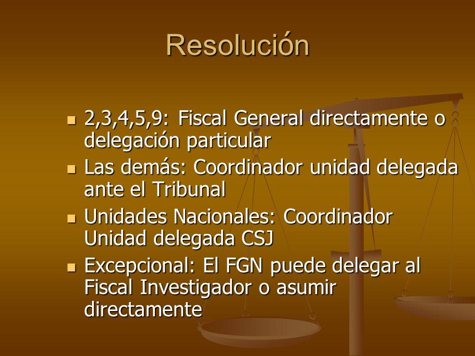Resolución 2,3,4,5,9: Fiscal General directamente o delegación particular. Las demás: Coordinador unidad delegada ante el Tribunal.