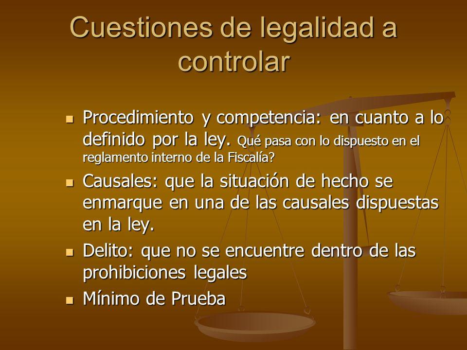 Cuestiones de legalidad a controlar