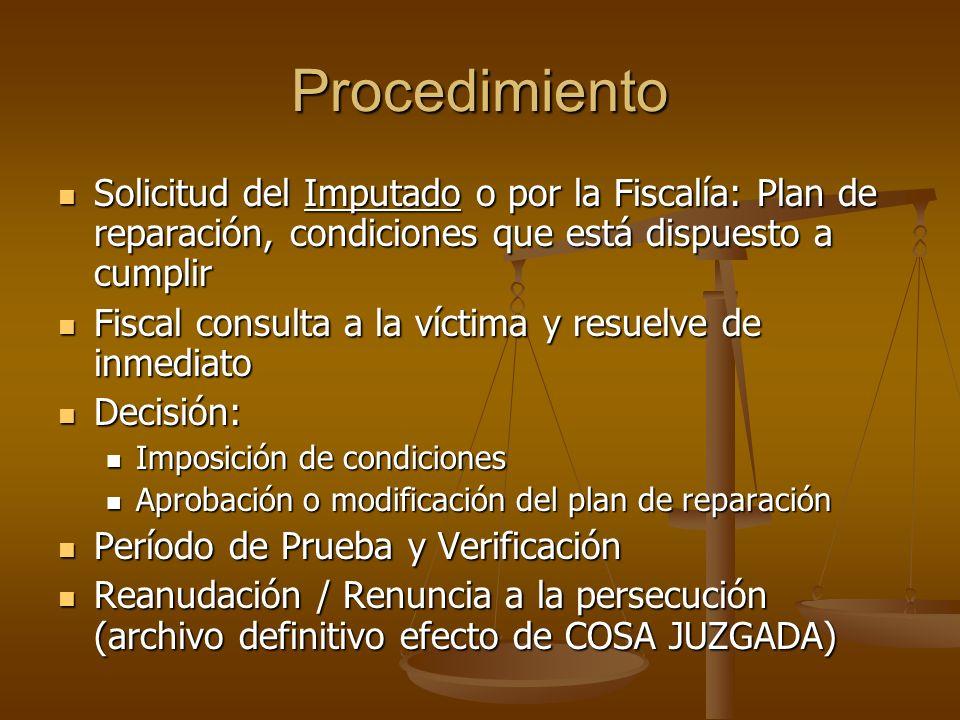Procedimiento Solicitud del Imputado o por la Fiscalía: Plan de reparación, condiciones que está dispuesto a cumplir.