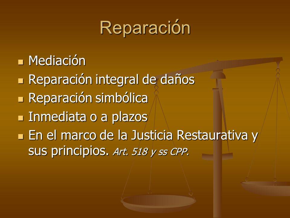 Reparación Mediación Reparación integral de daños Reparación simbólica